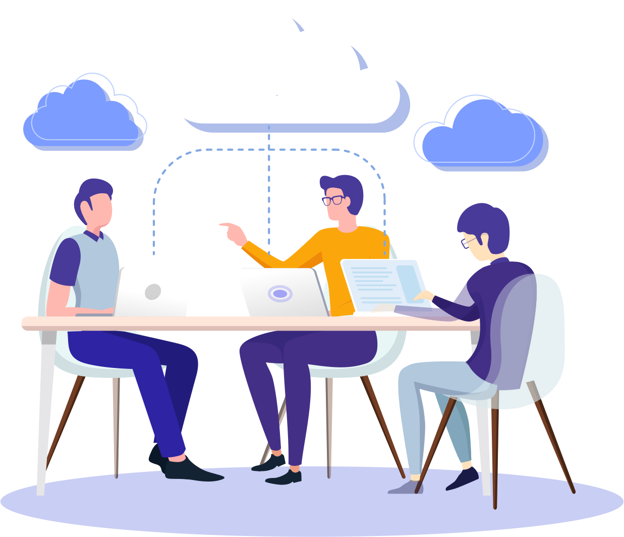 Acronsoft Cloud. Grupo de pessoas conversando sobre soluções Cloud ao redor de uma mesa.
